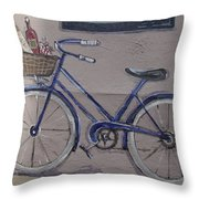 Bicycle Leaning On A Wall Throw Pillow