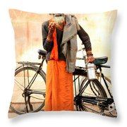 Bicycle Man Throw Pillow