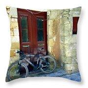 Bicycle Of Santorini Throw Pillow