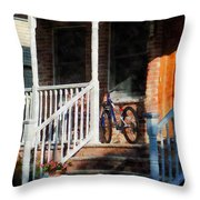 Bicycle On Porch Throw Pillow