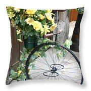 Bicycle Plant Holder Throw Pillow