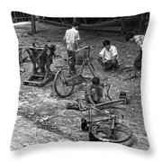 Bicycle Repair In Amarapura Throw Pillow