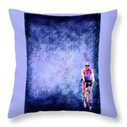 Bicycle Rider On Blue Background Throw Pillow