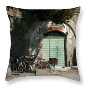 Bicycle Stop Throw Pillow