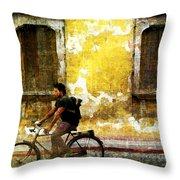 Bicycle Textures Throw Pillow