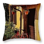 Bicycle Under The Porch Throw Pillow