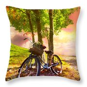 Bicycle Under The Tree Throw Pillow