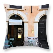 Bicycle With Blue Table And Chairs In Roma Throw Pillow