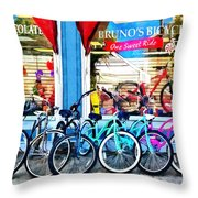 Bicycles And Chocolate Throw Pillow