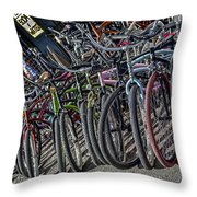 Bicycles For Rent Throw Pillow