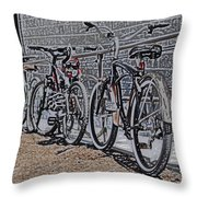 Bicycles On A Rail Throw Pillow