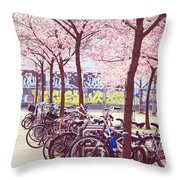 Bicycles Under The Blooming Trees. Pink Spring In Amsterdam  Throw Pillow