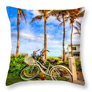 Bicycles Under The Palms Throw Pillow