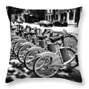 Bicycles - Velib Station - Paris Throw Pillow