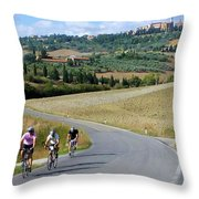 Bicycling In Tuscany Throw Pillow