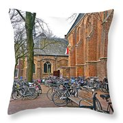 Bicycling To Church Throw Pillow