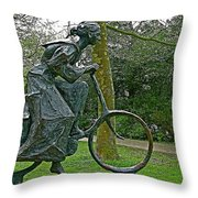 Bicyclist Sculpture In The Park In Leeuwarden-netherlands Throw Pillow