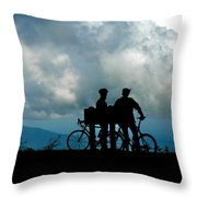 Bicyclists In The Clouds Throw Pillow