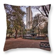 Bienville Spring With Benches Throw Pillow