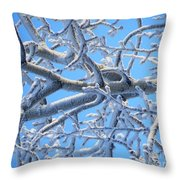 Bifurcations In White And Blue Throw Pillow