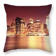 Big Apple - Night Skyline - New York City Throw Pillow
