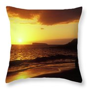 Big Beach Sunset Maui Hawaii Throw Pillow