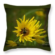 Big Beautiful Bumble Bee On Flower Throw Pillow