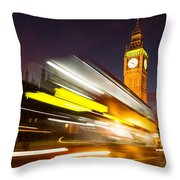 Big Ben And A Bus Trail Throw Pillow