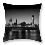 Big Ben And The Houses Of Parliament  Bw Throw Pillow