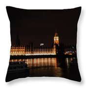Big Ben And The Houses Of Parliment On The Thames Throw Pillow