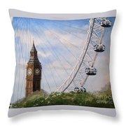 Big Ben And The London Eye Throw Pillow