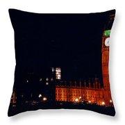 Big Ben At Night Throw Pillow
