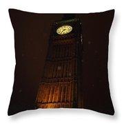 Big Ben In Rainy Night Throw Pillow