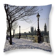 Big Ben Westminster Abbey And Houses Of Parliament In The Snow Throw Pillow