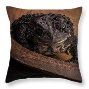 Big Black Toad Throw Pillow