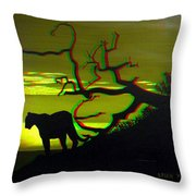 Big Cat Silhouette -  Use Red-cyan 3d Glasses Throw Pillow