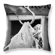 Big Cod Fish Hanging On The Hook Scale Throw Pillow
