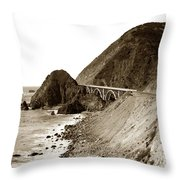 Big Creek Bridge Double Arched Concrete Bridge On Highway 1. About 40 Miles South Of Monterey  1935 Throw Pillow