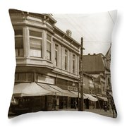 Big Curio Store Santa Cruz At 28 Pacific Avenue On The Corner Of Lincoln And Pacific. 1908 Throw Pillow
