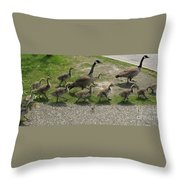 Big Family Crossing The Road Throw Pillow