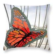 Big Glass Butterfly In Flight Throw Pillow