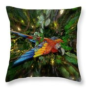 Big Glider Macaw Digital Art Throw Pillow