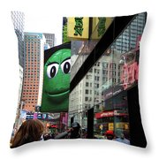 Big Green M And M Throw Pillow