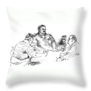Big Guys And A Little Guy Throw Pillow