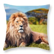 Big Lion Lying On Savannah Grass Throw Pillow