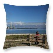 Big Mackinac Bridge 69 Throw Pillow
