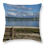 Big Mackinac Bridge 72 Throw Pillow