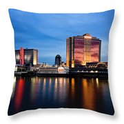 Big Night On The River Throw Pillow by Scott Pellegrin
