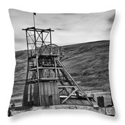 Big Pit Colliery Monochrome Throw Pillow