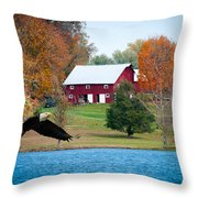 Big Red Barn Eagle Rocky Fork  Throw Pillow